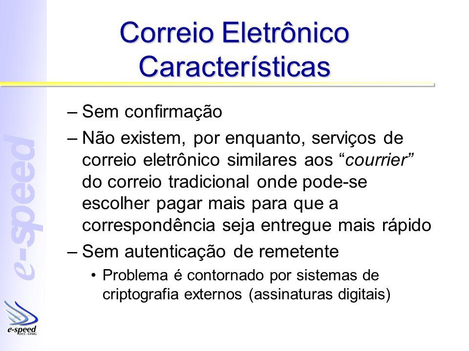 Correio Eletrônico Características –Sem confirmação –Não existem, por enquanto, serviços de correio eletrônico similares aos courrier do correio tradi