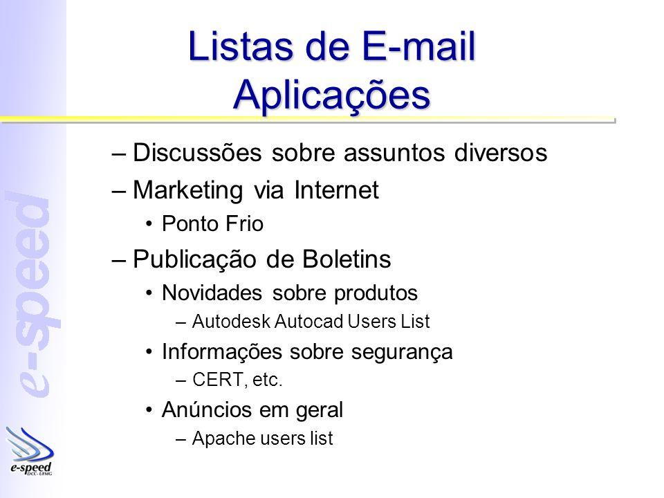 Listas de E-mail Aplicações –Discussões sobre assuntos diversos –Marketing via Internet Ponto Frio –Publicação de Boletins Novidades sobre produtos –A