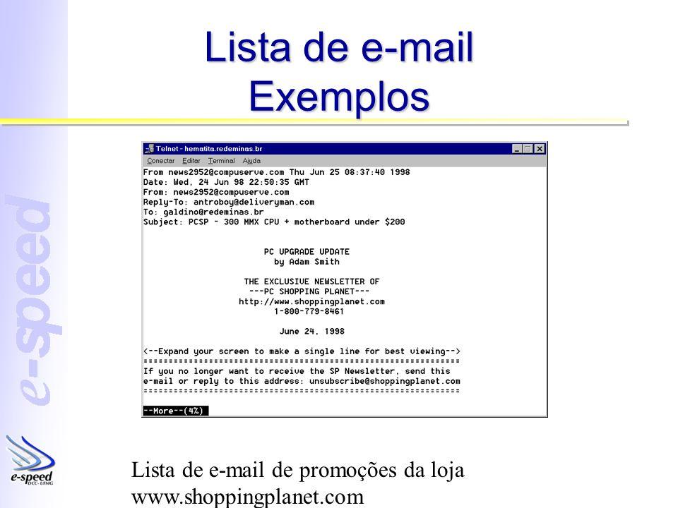 Lista de e-mail Exemplos Lista de e-mail de promoções da loja www.shoppingplanet.com