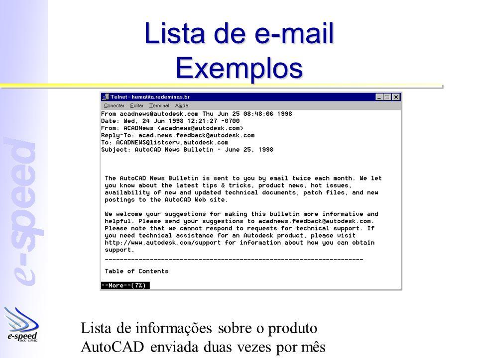Lista de e-mail Exemplos Lista de informações sobre o produto AutoCAD enviada duas vezes por mês