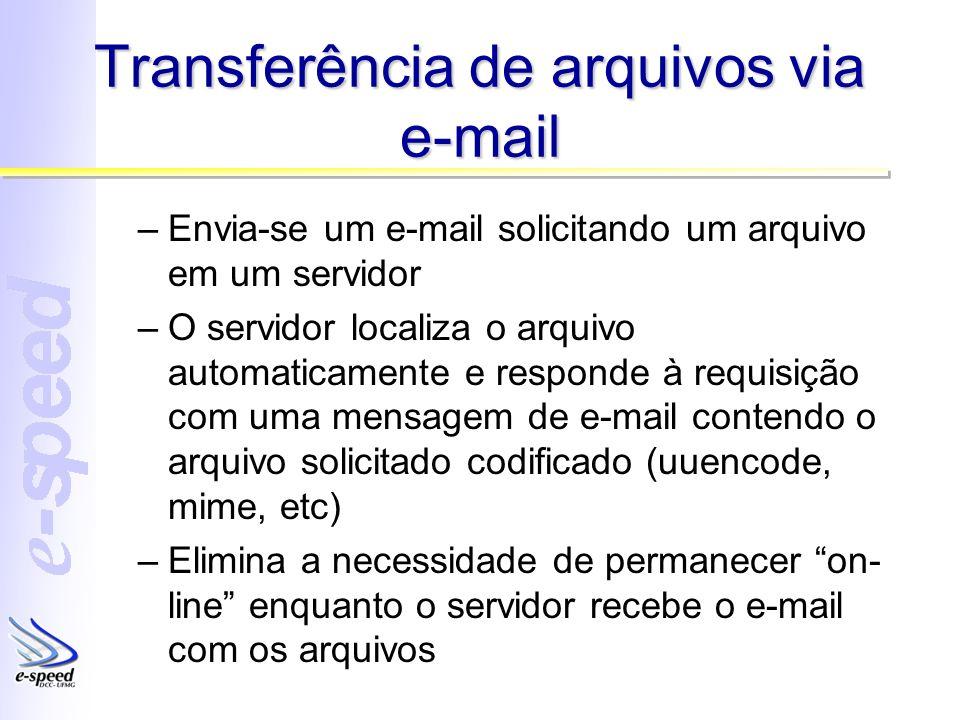 Transferência de arquivos via e-mail –Envia-se um e-mail solicitando um arquivo em um servidor –O servidor localiza o arquivo automaticamente e respon