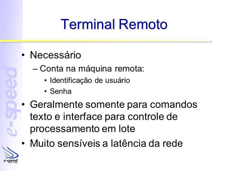 Terminal Remoto Necessário –Conta na máquina remota: Identificação de usuário Senha Geralmente somente para comandos texto e interface para controle d