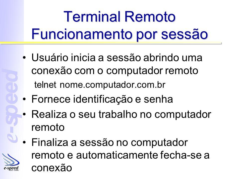 Terminal Remoto Funcionamento por sessão Usuário inicia a sessão abrindo uma conexão com o computador remoto telnet nome.computador.com.br Fornece ide