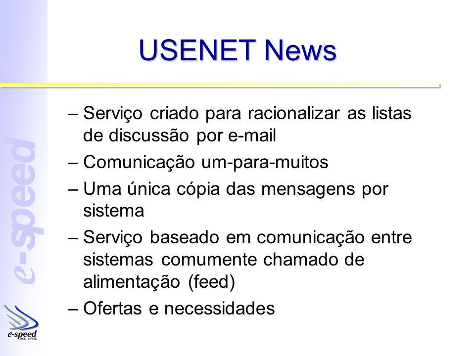 USENET News –Serviço criado para racionalizar as listas de discussão por e-mail –Comunicação um-para-muitos –Uma única cópia das mensagens por sistema