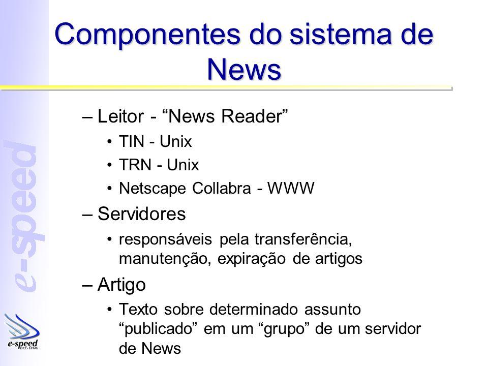 Componentes do sistema de News –Leitor - News Reader TIN - Unix TRN - Unix Netscape Collabra - WWW –Servidores responsáveis pela transferência, manute