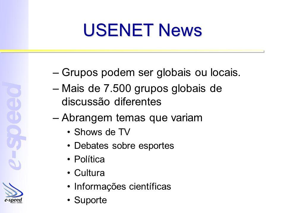 USENET News –Grupos podem ser globais ou locais. –Mais de 7.500 grupos globais de discussão diferentes –Abrangem temas que variam Shows de TV Debates