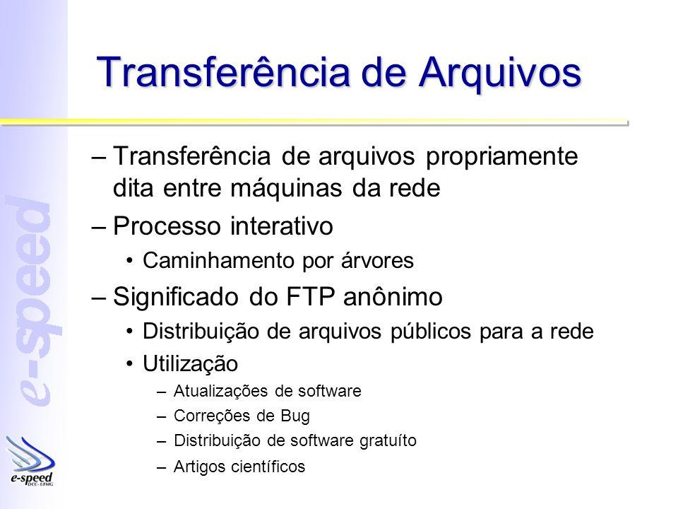 Transferência de Arquivos –Transferência de arquivos propriamente dita entre máquinas da rede –Processo interativo Caminhamento por árvores –Significa