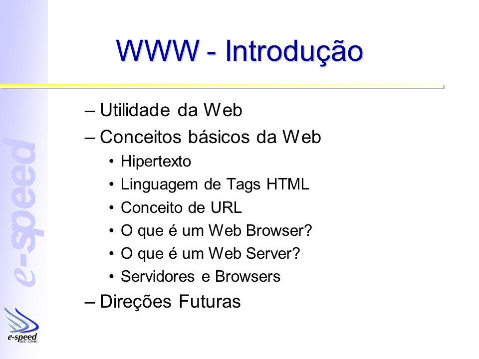 WWW - Introdução –Utilidade da Web –Conceitos básicos da Web Hipertexto Linguagem de Tags HTML Conceito de URL O que é um Web Browser? O que é um Web