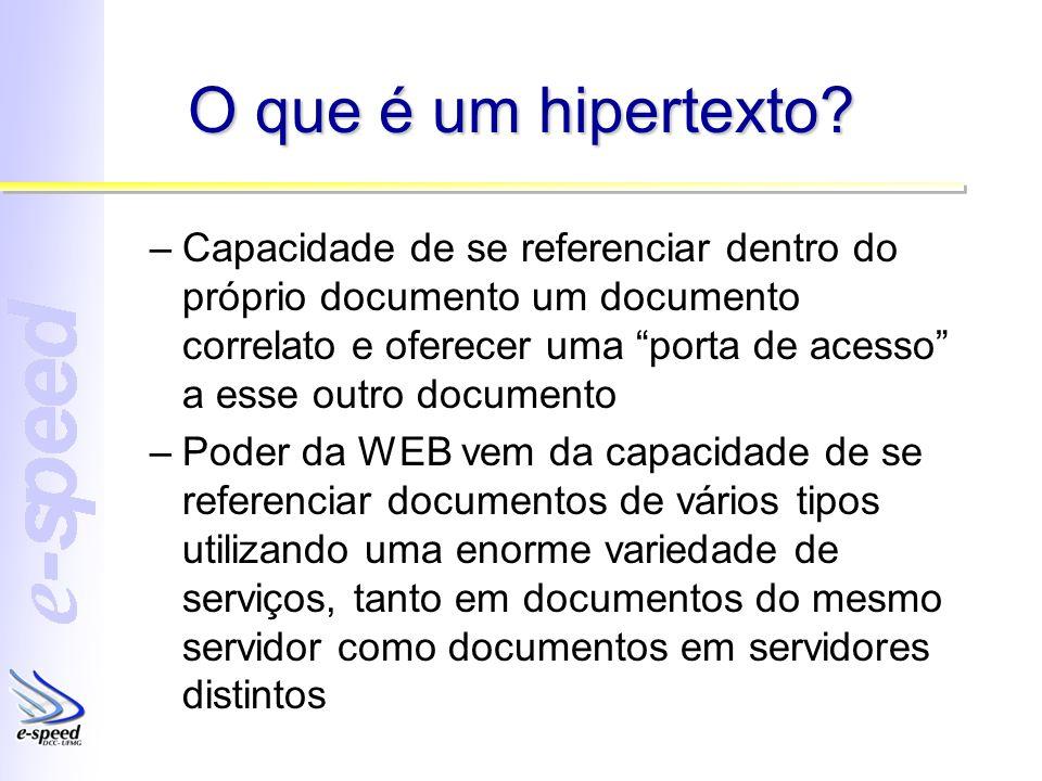 O que é um hipertexto? –Capacidade de se referenciar dentro do próprio documento um documento correlato e oferecer uma porta de acesso a esse outro do