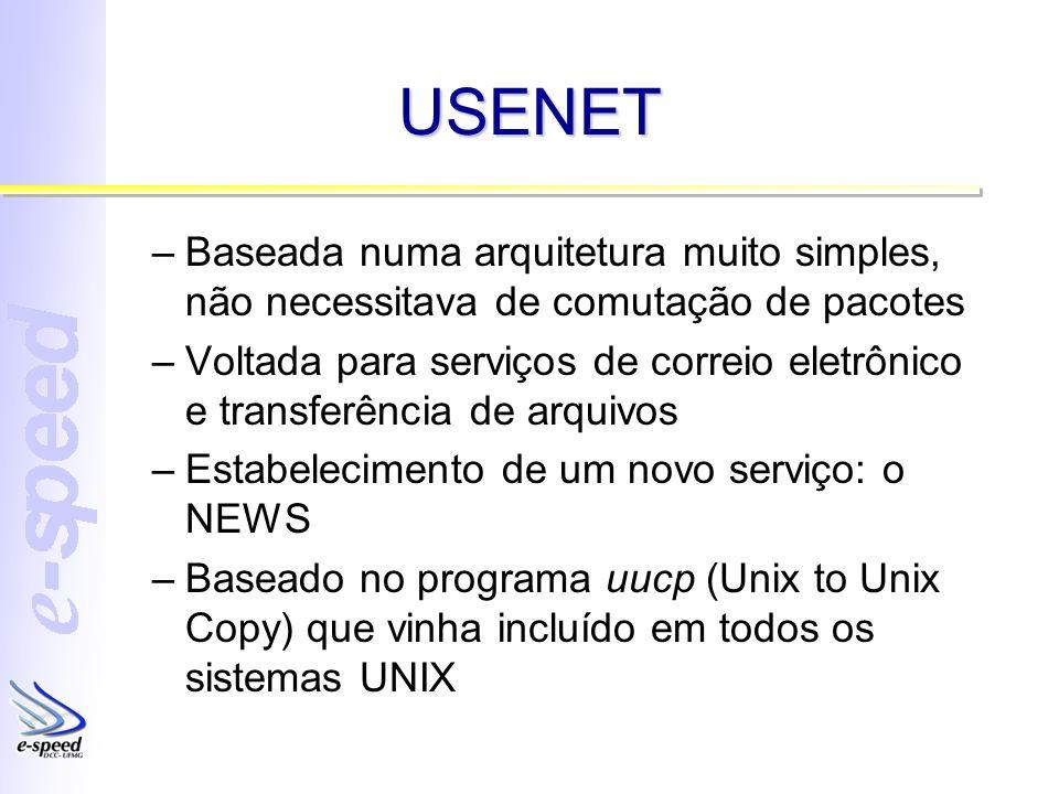 USENET –Baseada numa arquitetura muito simples, não necessitava de comutação de pacotes –Voltada para serviços de correio eletrônico e transferência d