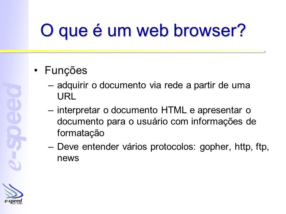 O que é um web browser? Funções –adquirir o documento via rede a partir de uma URL –interpretar o documento HTML e apresentar o documento para o usuár