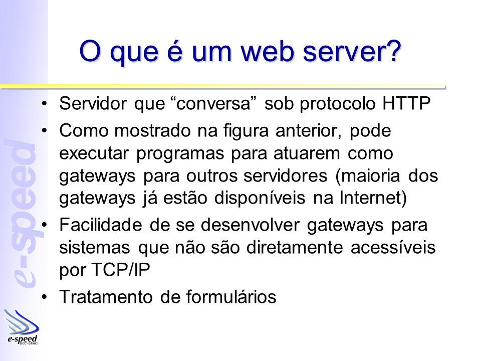 O que é um web server? Servidor que conversa sob protocolo HTTP Como mostrado na figura anterior, pode executar programas para atuarem como gateways p