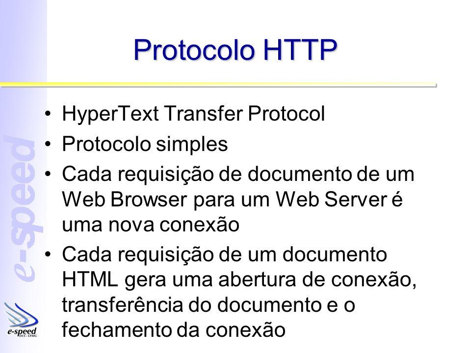 Protocolo HTTP HyperText Transfer Protocol Protocolo simples Cada requisição de documento de um Web Browser para um Web Server é uma nova conexão Cada