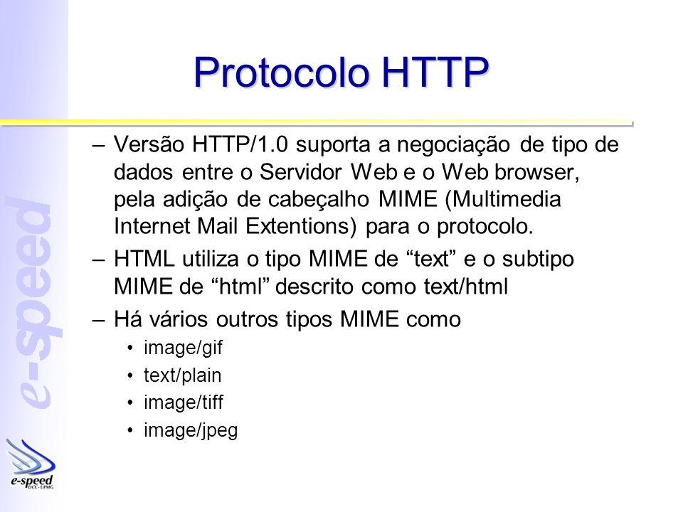 Protocolo HTTP –Versão HTTP/1.0 suporta a negociação de tipo de dados entre o Servidor Web e o Web browser, pela adição de cabeçalho MIME (Multimedia