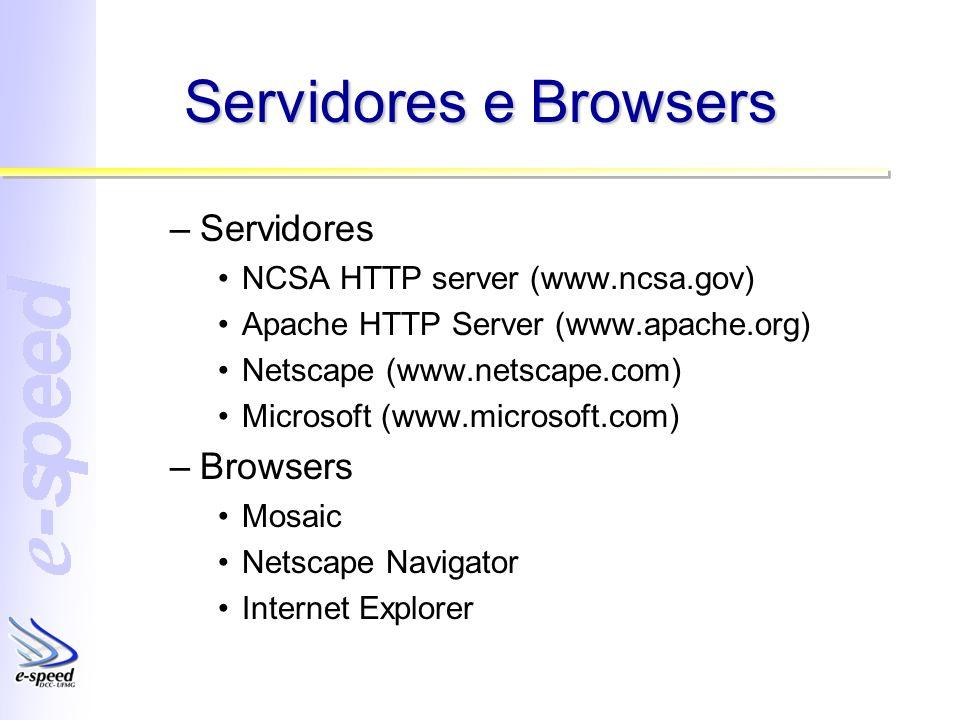 Servidores e Browsers –Servidores NCSA HTTP server (www.ncsa.gov) Apache HTTP Server (www.apache.org) Netscape (www.netscape.com) Microsoft (www.micro