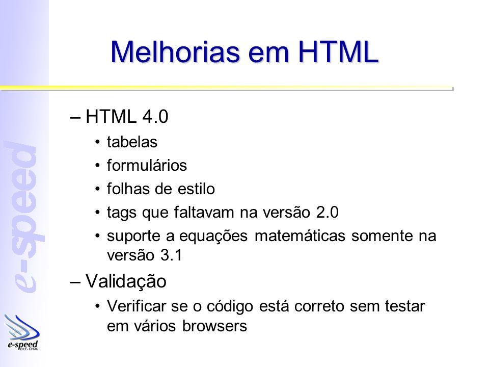 Melhorias em HTML –HTML 4.0 tabelas formulários folhas de estilo tags que faltavam na versão 2.0 suporte a equações matemáticas somente na versão 3.1