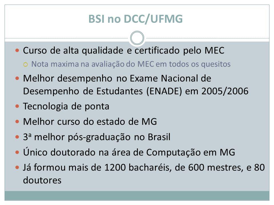 BSI no DCC/UFMG Curso de alta qualidade e certificado pelo MEC Nota maxima na avaliação do MEC em todos os quesitos Melhor desempenho no Exame Naciona