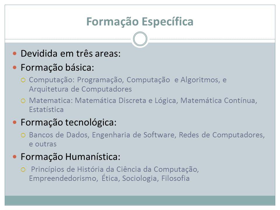 Formação Específica Devidida em três areas: Formação básica: Computação: Programação, Computação e Algoritmos, e Arquitetura de Computadores Matematic