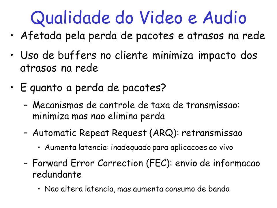 Qualidade do Video e Audio Afetada pela perda de pacotes e atrasos na rede Uso de buffers no cliente minimiza impacto dos atrasos na rede E quanto a perda de pacotes.