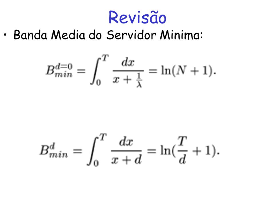 Revisão Banda Media do Servidor Minima:
