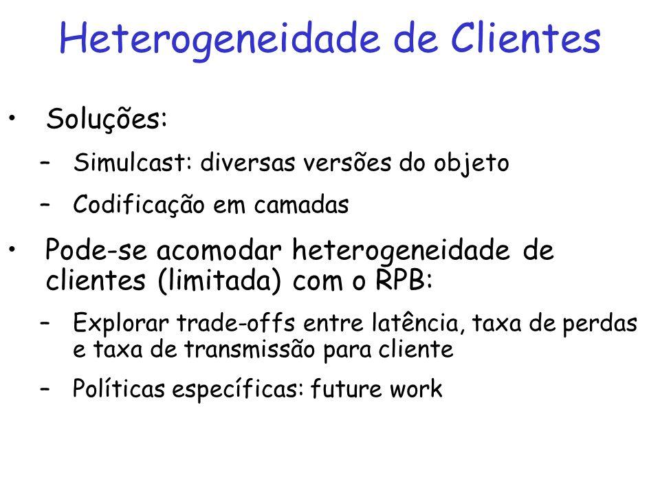 Heterogeneidade de Clientes Soluções: –Simulcast: diversas versões do objeto –Codificação em camadas Pode-se acomodar heterogeneidade de clientes (limitada) com o RPB: –Explorar trade-offs entre latência, taxa de perdas e taxa de transmissão para cliente –Políticas específicas: future work