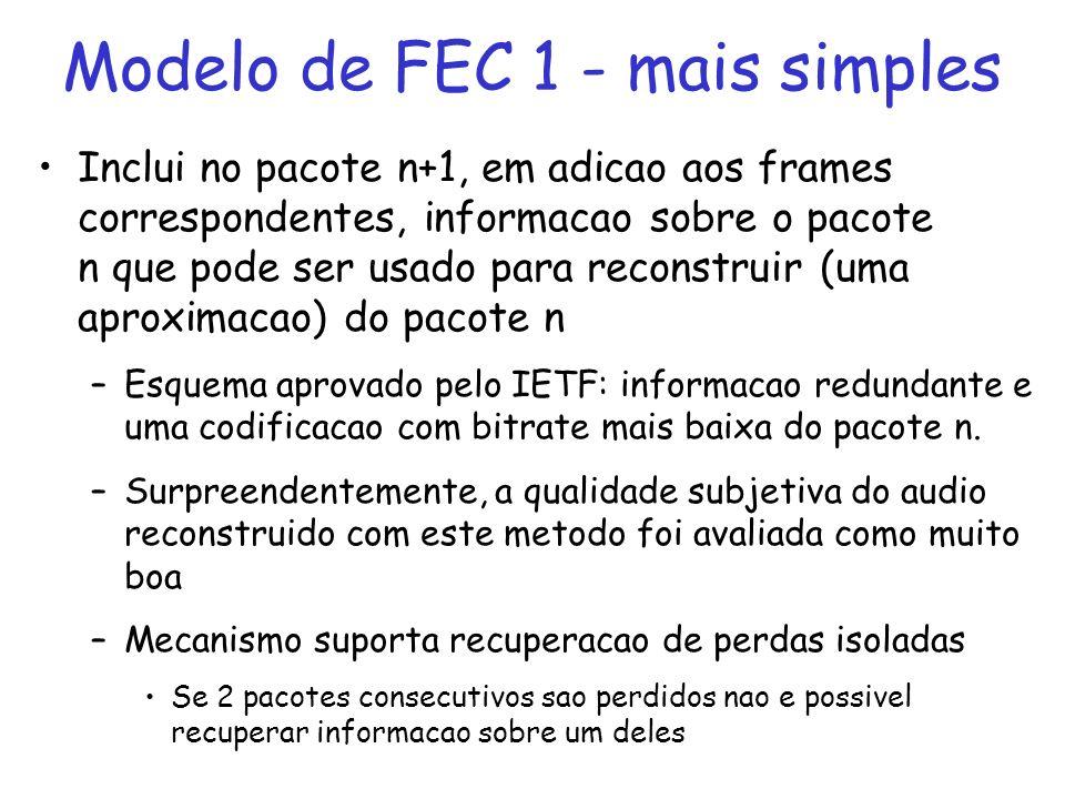 Modelo de FEC 2 Inclui no pacote n+1, em adicao aos frames correspondentes, informacoes redundantes sobre os pacotes n e n-1, ou sobre os pacotes n, n-1 e n- 2, ou sobre os pacotes n-1 e n-3, etc –Mecanismo suporta recuperacao de perdas em rajadas Informacao redundante de um pacote e espalhada por multiplos pacotes –Quanto mais info redundante e adicionada, maior o numero de pacotes perdidos que poderao ser reconstruidos –Problema: quantidade de informacao redundante depende do processo de perda na rede no momento em questao