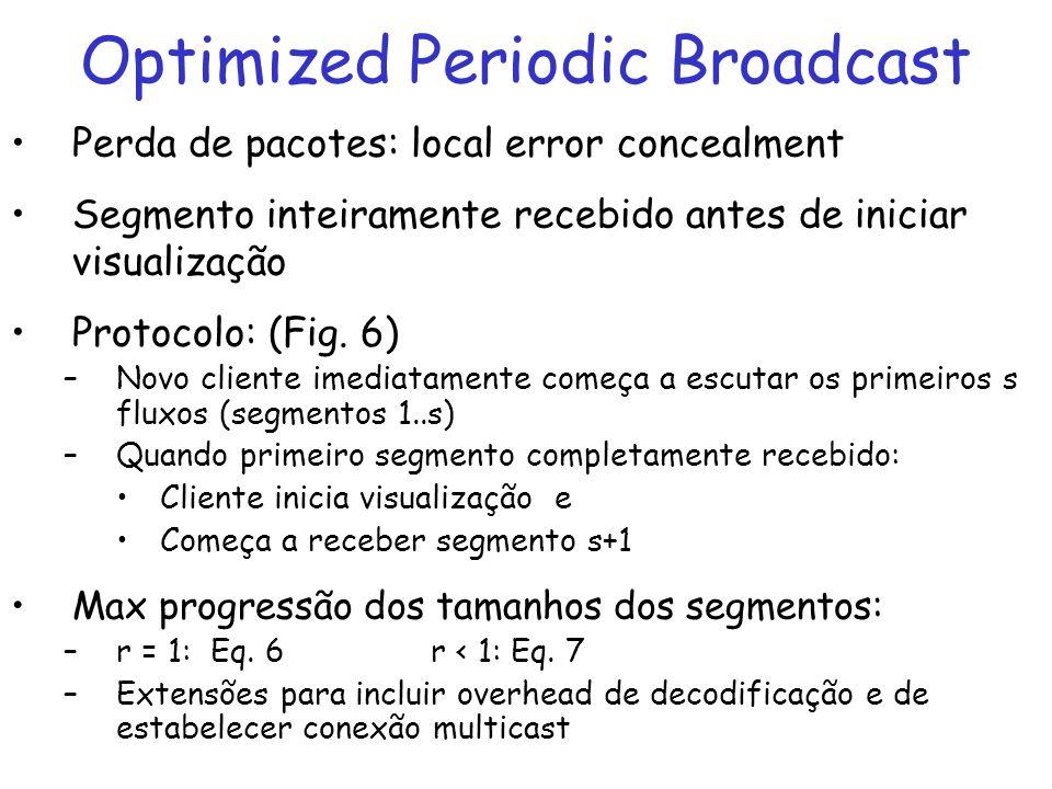 Optimized Periodic Broadcast Perda de pacotes: local error concealment Segmento inteiramente recebido antes de iniciar visualização Protocolo: (Fig. 6