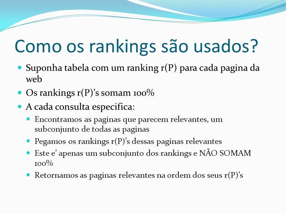 Como os rankings são usados? Suponha tabela com um ranking r(P) para cada pagina da web Os rankings r(P)s somam 100% A cada consulta especifica: Encon