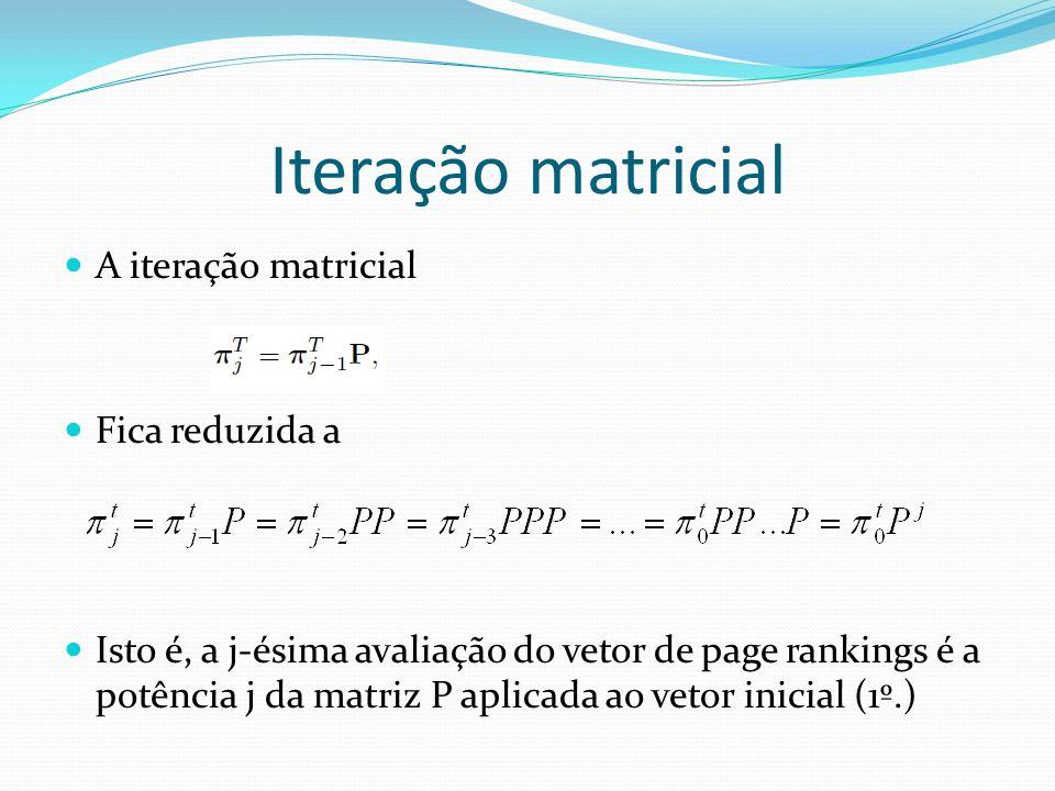 Iteração matricial A iteração matricial Fica reduzida a Isto é, a j-ésima avaliação do vetor de page rankings é a potência j da matriz P aplicada ao v