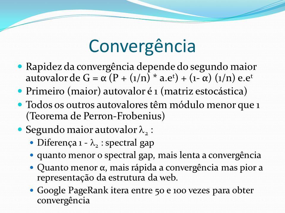Convergência Rapidez da convergência depende do segundo maior autovalor de G = α (P + (1/n) * a.e t ) + (1- α) (1/n) e.e t Primeiro (maior) autovalor