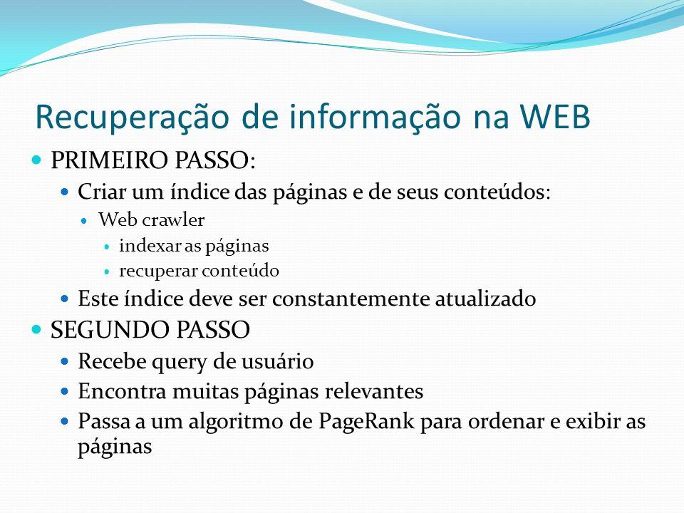 Recuperação de informação na WEB PRIMEIRO PASSO: Criar um índice das páginas e de seus conteúdos: Web crawler indexar as páginas recuperar conteúdo Es