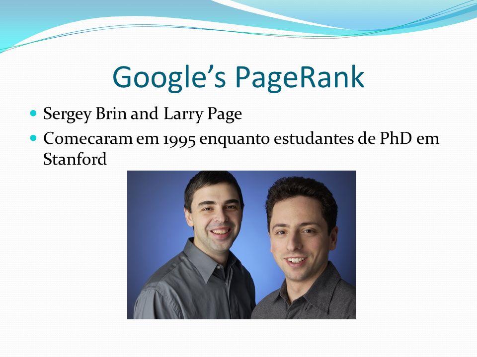 Googles PageRank Sergey Brin and Larry Page Comecaram em 1995 enquanto estudantes de PhD em Stanford