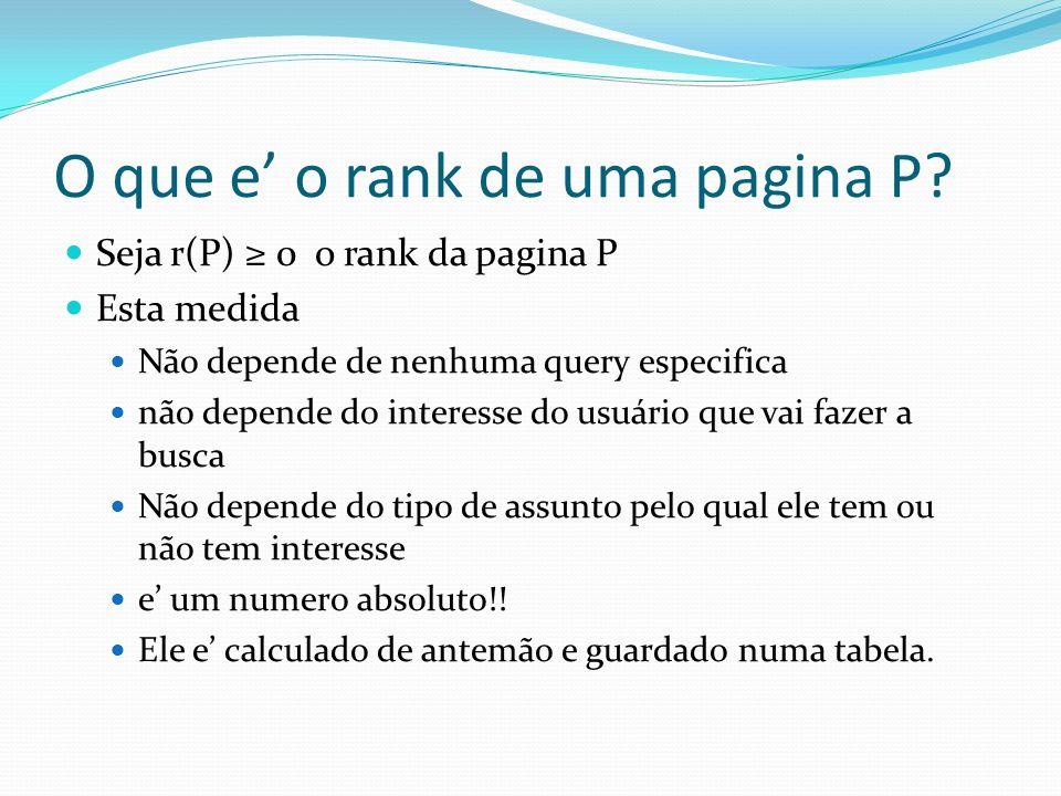 O que e o rank de uma pagina P? Seja r(P) 0 o rank da pagina P Esta medida Não depende de nenhuma query especifica não depende do interesse do usuário