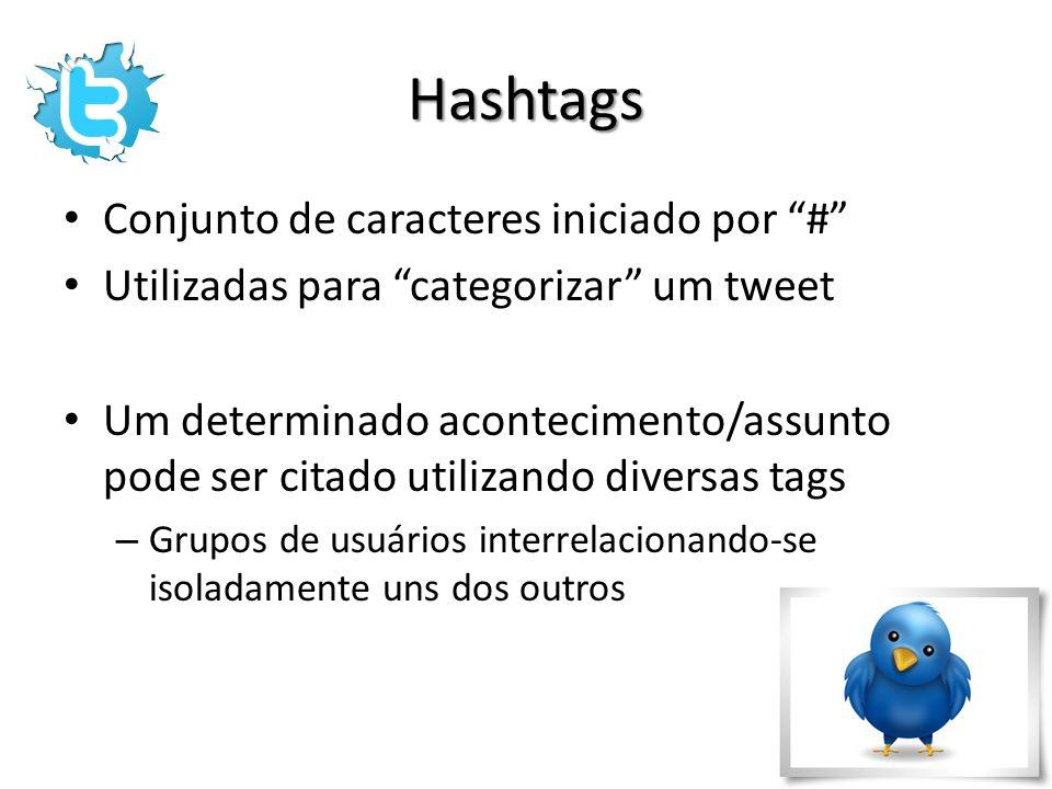 Hashtags Conjunto de caracteres iniciado por # Utilizadas para categorizar um tweet Um determinado acontecimento/assunto pode ser citado utilizando di