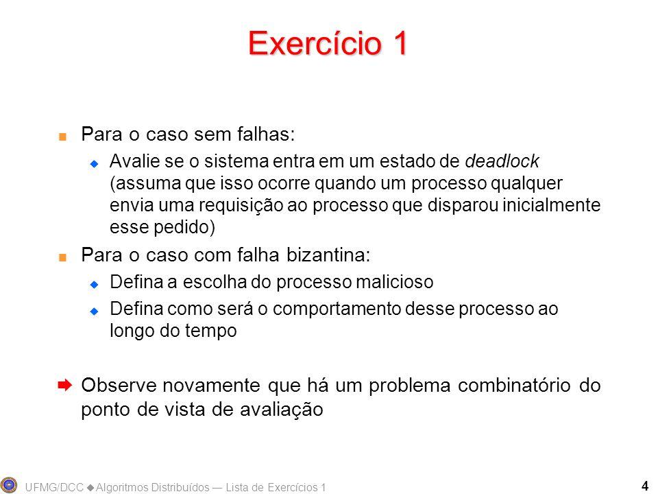 UFMG/DCC Algoritmos Distribuídos Lista de Exercícios 1 4 Exercício 1 Para o caso sem falhas: Avalie se o sistema entra em um estado de deadlock (assum