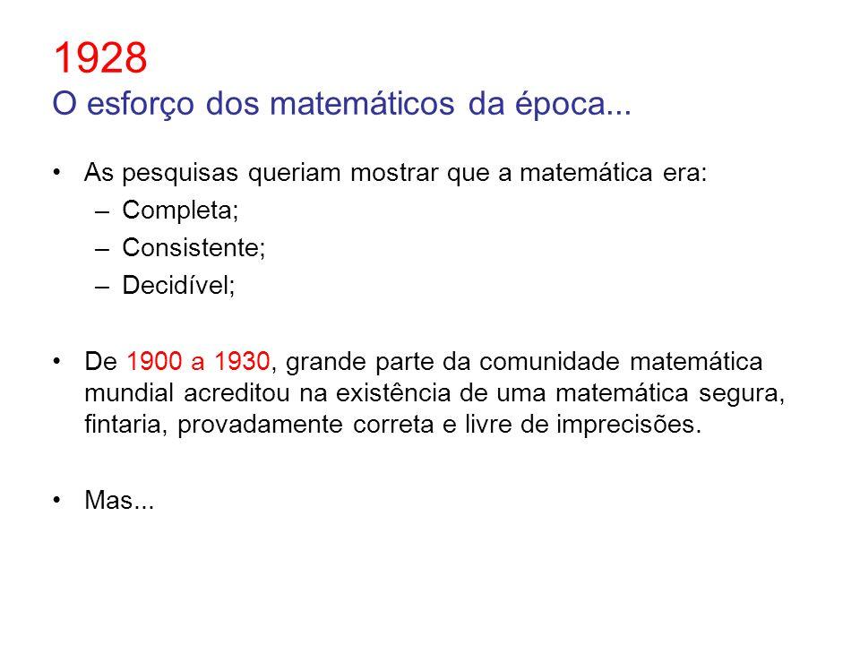 1928 O esforço dos matemáticos da época... As pesquisas queriam mostrar que a matemática era: –Completa; –Consistente; –Decidível; De 1900 a 1930, gra