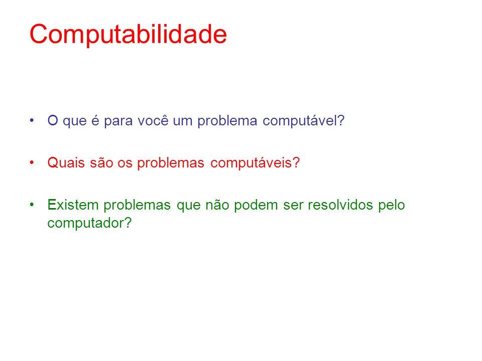 Computabilidade O que é para você um problema computável? Quais são os problemas computáveis? Existem problemas que não podem ser resolvidos pelo comp