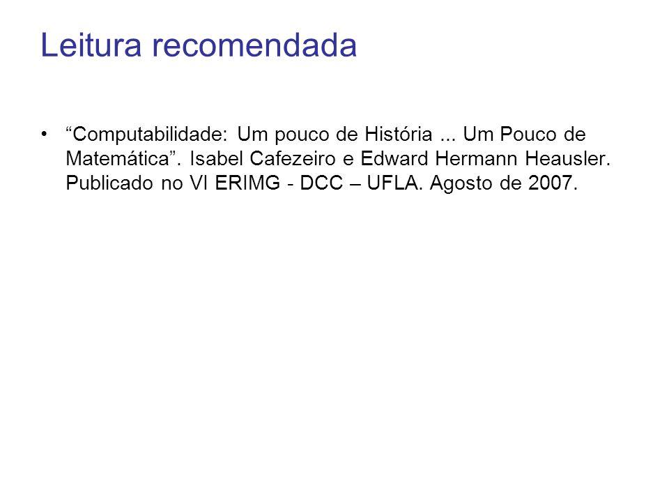 Leitura recomendada Computabilidade: Um pouco de História... Um Pouco de Matemática. Isabel Cafezeiro e Edward Hermann Heausler. Publicado no VI ERIMG