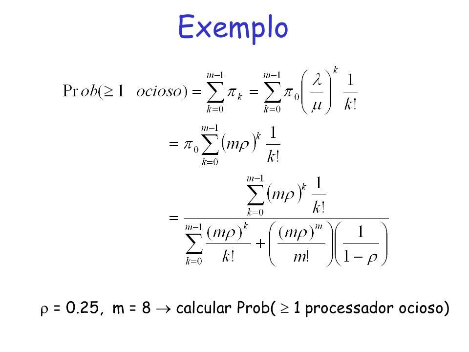 Exemplo = 0.25, m = 8 calcular Prob( 1 processador ocioso)