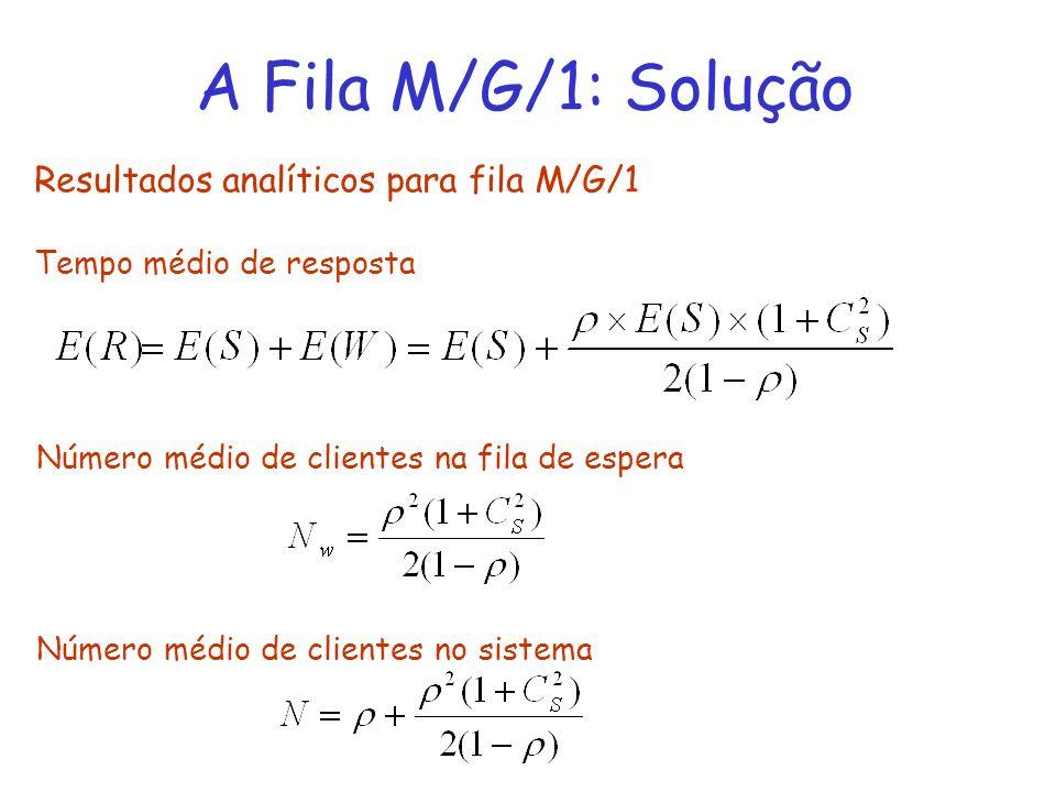 A Fila M/G/1: Solução Resultados analíticos para fila M/G/1 Tempo médio de resposta Número médio de clientes na fila de espera Número médio de cliente