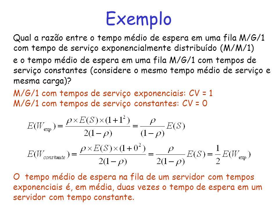Exemplo Qual a razão entre o tempo médio de espera em uma fila M/G/1 com tempo de serviço exponencialmente distribuído (M/M/1) e o tempo médio de espe