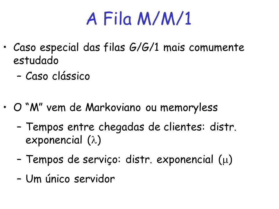A Fila M/M/1 Caso especial das filas G/G/1 mais comumente estudado –Caso clássico O M vem de Markoviano ou memoryless –Tempos entre chegadas de client