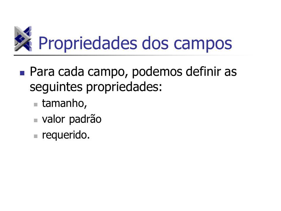 Propriedades dos campos Para cada campo, podemos definir as seguintes propriedades: tamanho, valor padrão requerido.