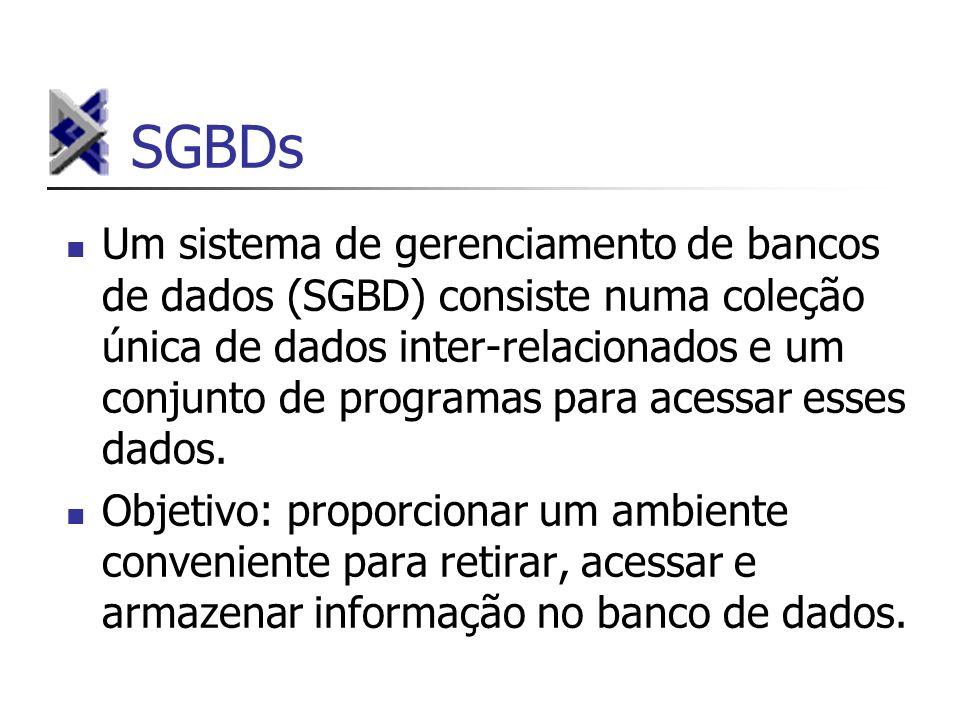 SGBDs Um sistema de gerenciamento de bancos de dados (SGBD) consiste numa coleção única de dados inter-relacionados e um conjunto de programas para ac