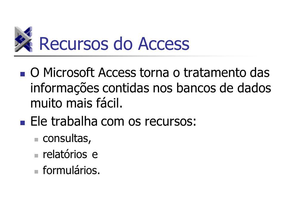 Recursos do Access O Microsoft Access torna o tratamento das informações contidas nos bancos de dados muito mais fácil. Ele trabalha com os recursos: