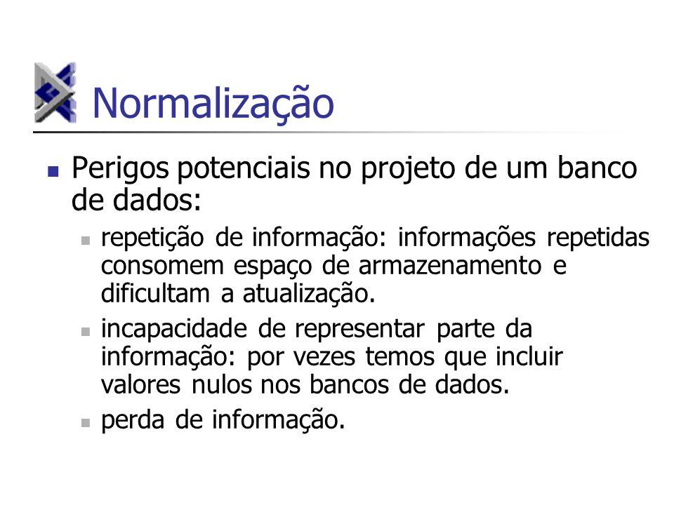 Normalização Perigos potenciais no projeto de um banco de dados: repetição de informação: informações repetidas consomem espaço de armazenamento e dif