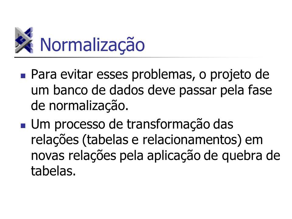 Normalização Para evitar esses problemas, o projeto de um banco de dados deve passar pela fase de normalização. Um processo de transformação das relaç