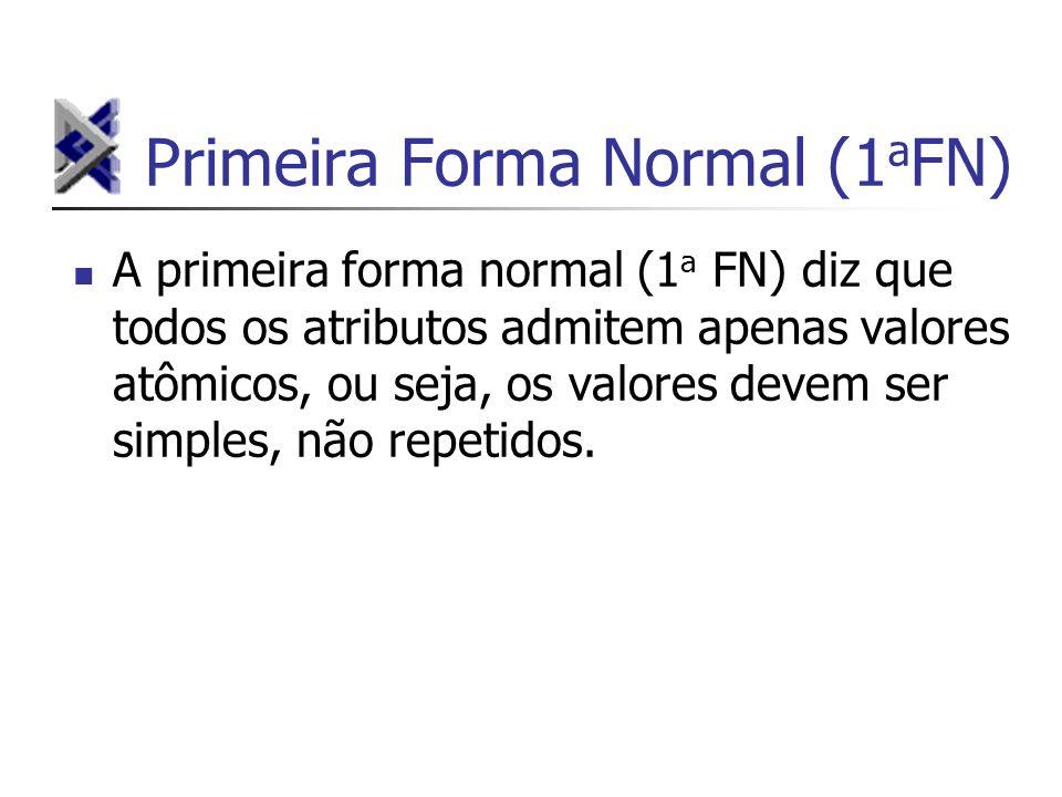 Primeira Forma Normal (1 a FN) A primeira forma normal (1 a FN) diz que todos os atributos admitem apenas valores atômicos, ou seja, os valores devem