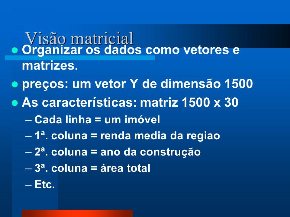 Visão matricial Organizar os dados como vetores e matrizes. preços: um vetor Y de dimensão 1500 As características: matriz 1500 x 30 –Cada linha = um