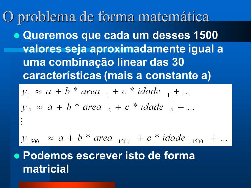 O problema de forma matemática Queremos que cada um desses 1500 valores seja aproximadamente igual a uma combinação linear das 30 características (mai